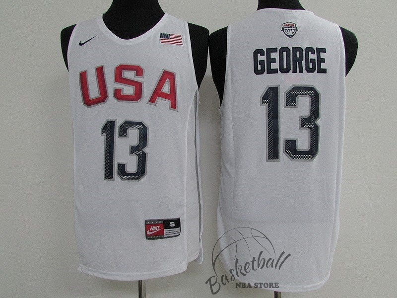 Choisir Maillot NBA 2016 USA NO.13 Paul George Blanc
