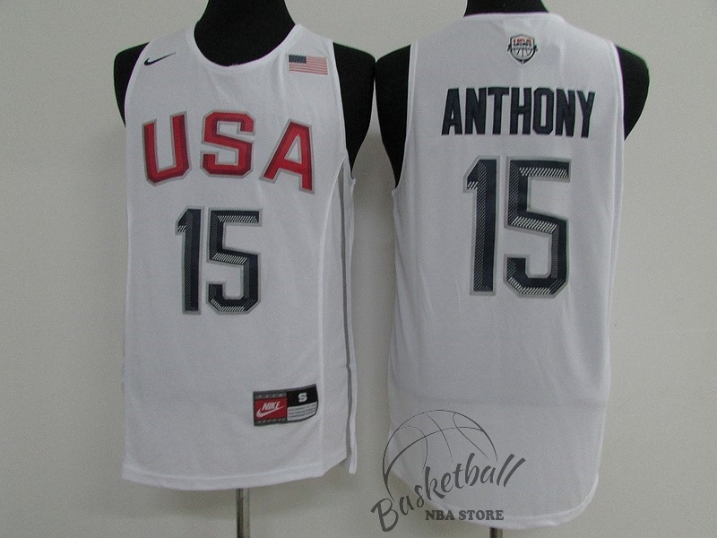 Choisir Maillot NBA 2016 USA NO.15 Carmelo Anthony Blanc