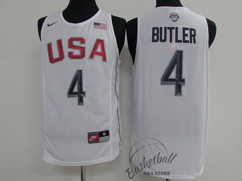 Choisir Maillot NBA 2016 USA NO.4 Jimmy Butler Blanc