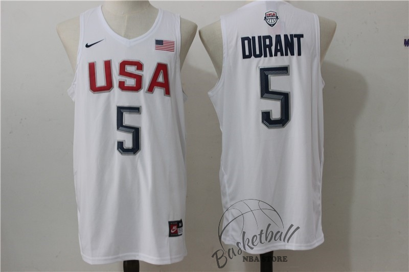 Choisir Maillot NBA 2016 USA NO.5 Durant Blanc