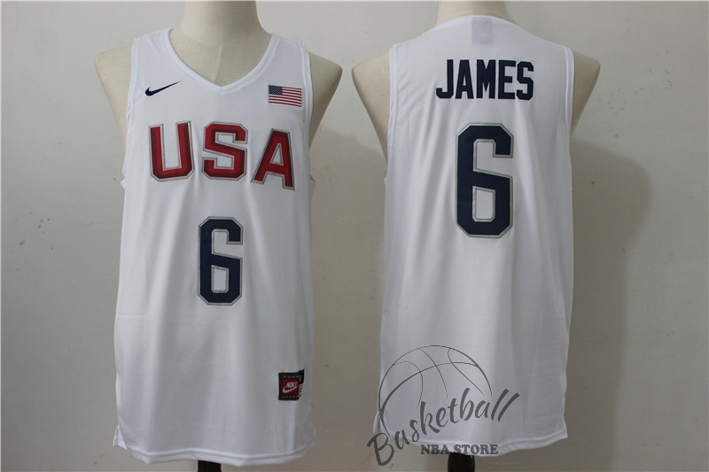 Choisir Maillot NBA 2016 USA NO.6 James Blanc