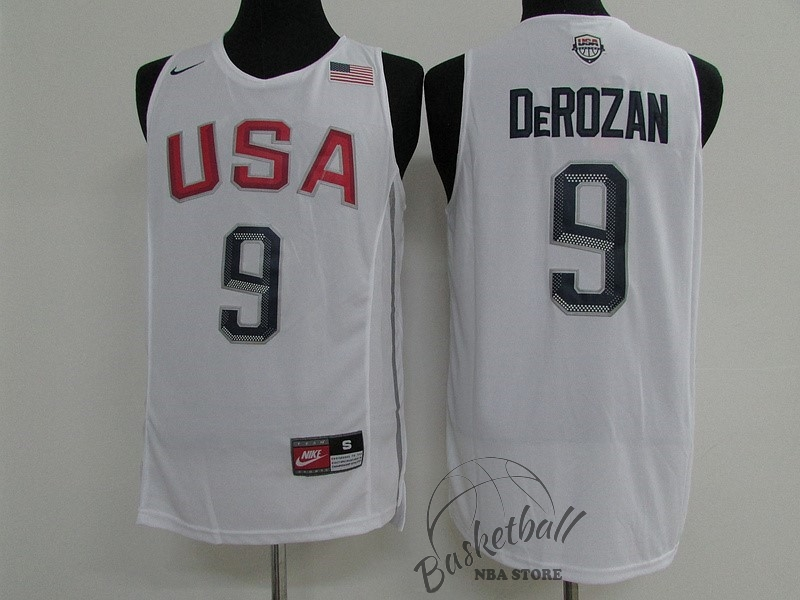 Choisir Maillot NBA 2016 USA NO.9 Demar DeRozan Blanc