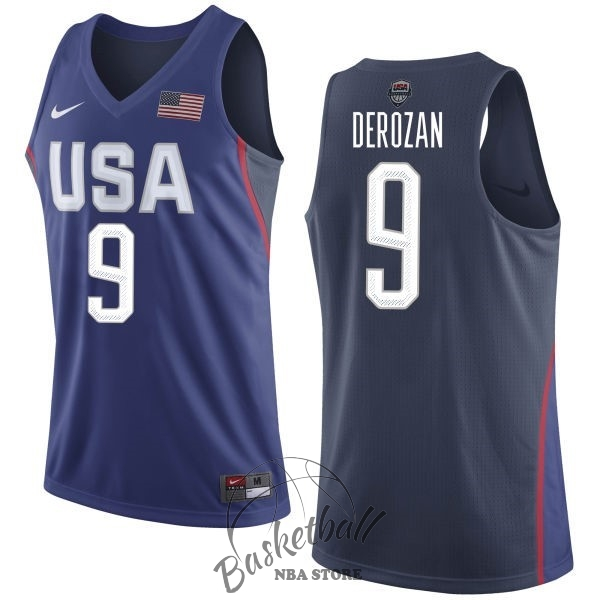 Choisir Maillot NBA 2016 USA NO.9 Demar DeRozan Bleu
