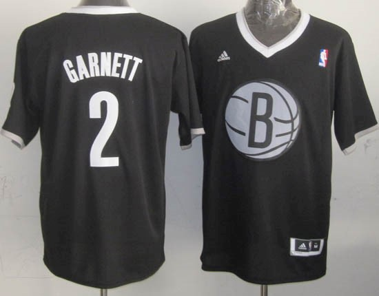Choisir Maillot NBA Brooklyn Nets 2013 Noël NO.2 Garnett Noir
