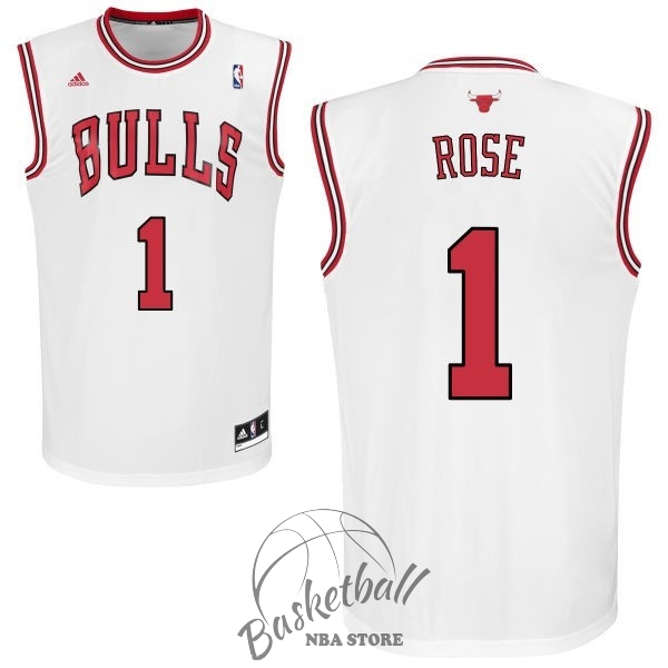 Choisir Maillot NBA Chicago Bulls NO.1 Derrick Rose Blanc