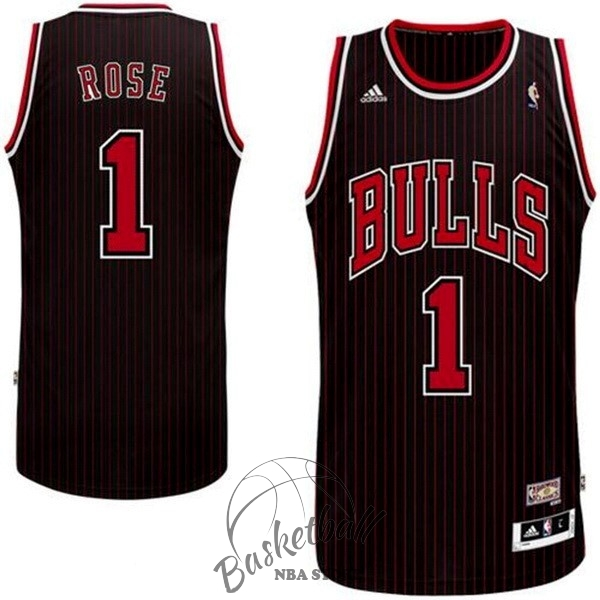 Choisir Maillot NBA Chicago Bulls NO.1 Derrick Rose Noir Bande