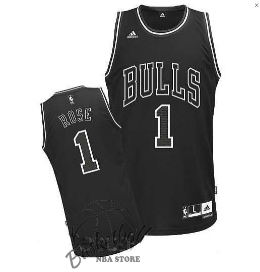 Choisir Maillot NBA Chicago Bulls NO.1 Derrick Rose Noir