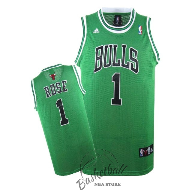 Choisir Maillot NBA Chicago Bulls NO.1 Derrick Rose Vert