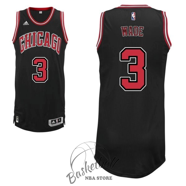 Choisir Maillot NBA Chicago Bulls NO.3 Dwyane Wade 2016 Noir