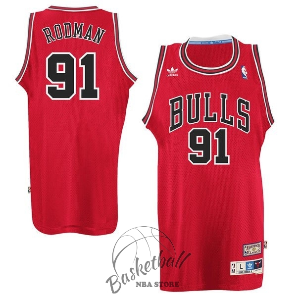 Choisir Maillot NBA Chicago Bulls NO.91 Dennis Rodman Rouge