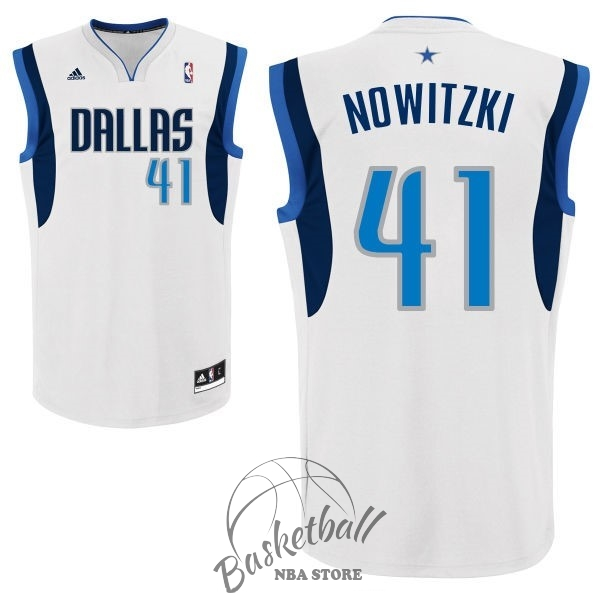 Choisir Maillot NBA Dallas Mavericks NO.41 Dirk Nowitzki Blanc