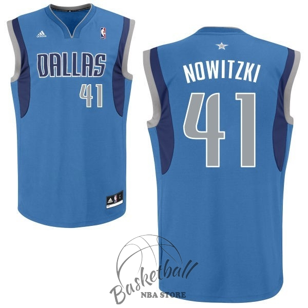 Choisir Maillot NBA Dallas Mavericks NO.41 Dirk Nowitzki Bleu