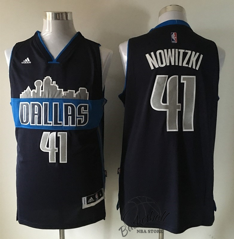 Choisir Maillot NBA Dallas Mavericks NO.41 Dirk Nowitzki Noir