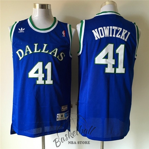 Choisir Maillot NBA Dallas Mavericks NO.41 Dirk Nowitzki Retro Bleu