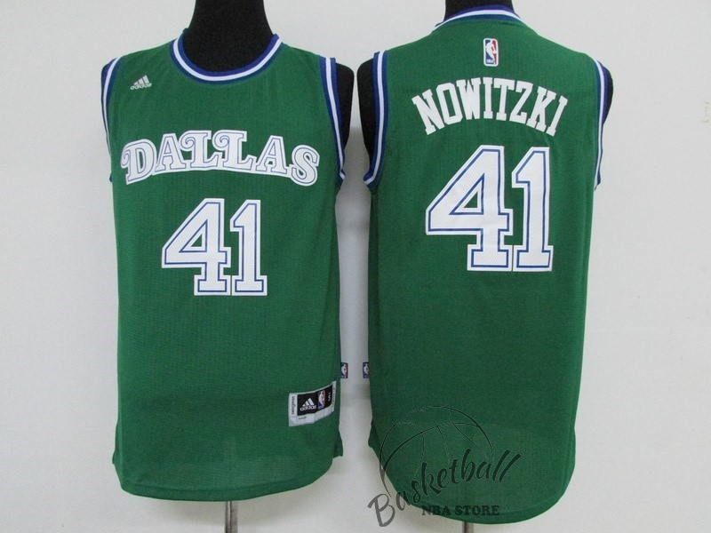 Choisir Maillot NBA Dallas Mavericks NO.41 Dirk Nowitzki Vert