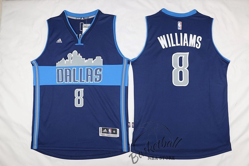 Choisir Maillot NBA Dallas Mavericks NO.8 Deron Michael Williams Bleu Profond