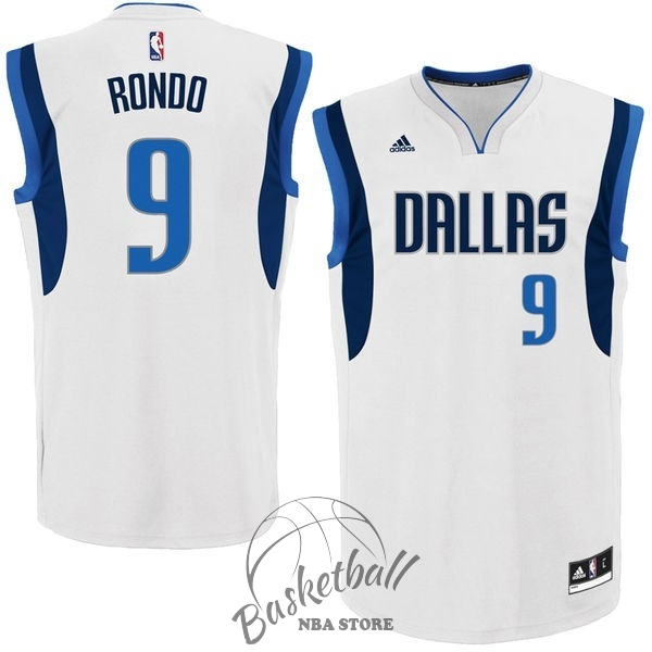 Choisir Maillot NBA Dallas Mavericks NO.9 Rajon Rondo Blanc