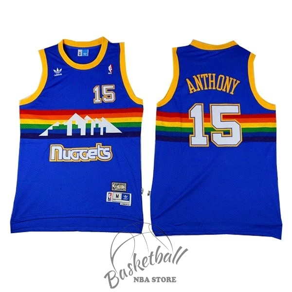 Choisir Maillot NBA Denver Nuggets NO.15 Carmelo Anthony Bleu