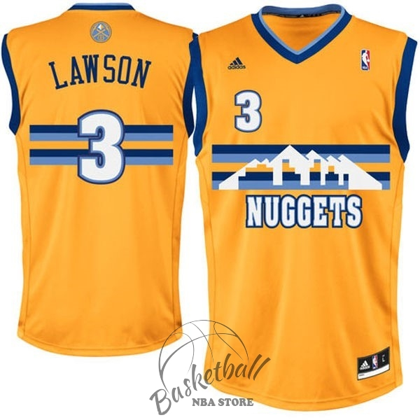 Choisir Maillot NBA Denver Nuggets NO.3 Allen Iverson Jaune