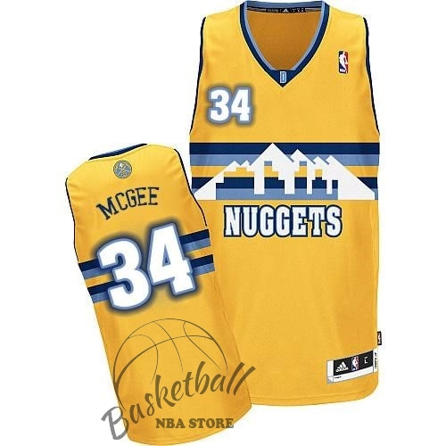 Choisir Maillot NBA Denver Nuggets NO.34 JaVale McGee Jaune