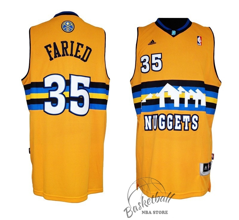 Choisir Maillot NBA Denver Nuggets NO.35 Kenneth Faried Jaune