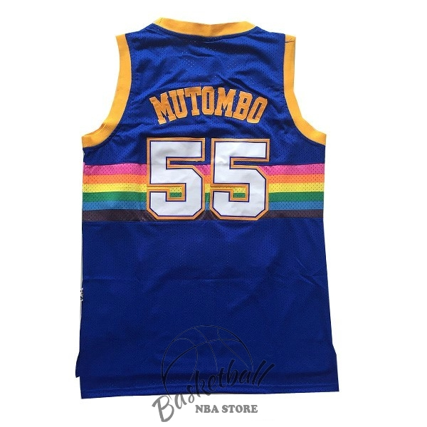 Choisir Maillot NBA Denver Nuggets NO.55 Dikembe Mutombo Bleu