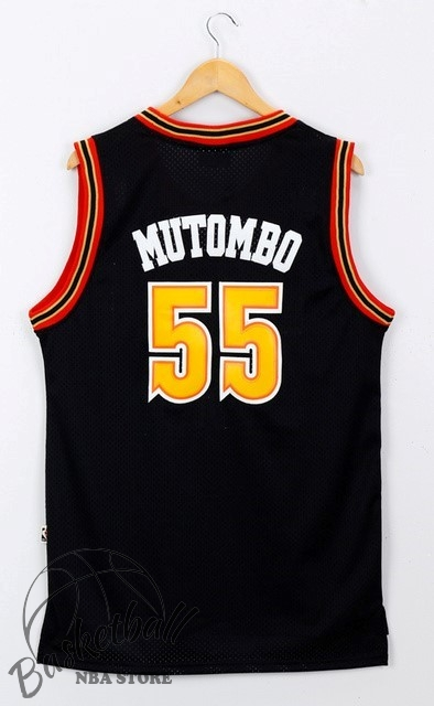Choisir Maillot NBA Denver Nuggets NO.55 Dikembe Mutombo Noir