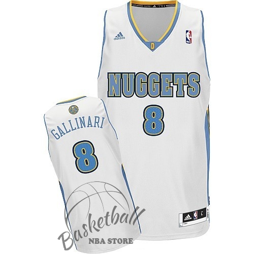 Choisir Maillot NBA Denver Nuggets NO.8 Danilo Gallinari Blanc