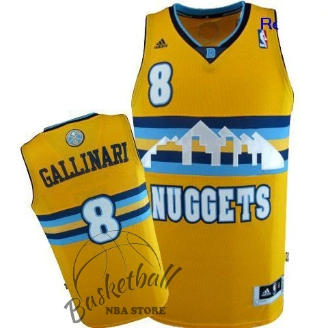 Choisir Maillot NBA Denver Nuggets NO.8 Danilo Gallinari Jaune