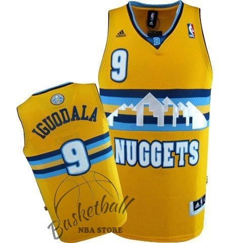 Choisir Maillot NBA Denver Nuggets NO.9 Andre Iguodala Jaune