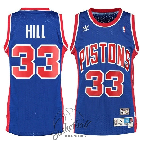 Choisir Maillot NBA Detroit Pistons NO.33 Grant Hill Retro Bleu
