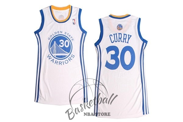 Choisir Maillot NBA Femme Golden State Warriors NO.30 Stephen Curry Blanc