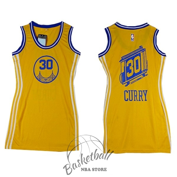Choisir Maillot NBA Femme Golden State Warriors NO.30 Stephen Curry Jaune