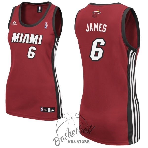Choisir Maillot NBA Femme Miami Heat NO.6 LeBron James Rouge