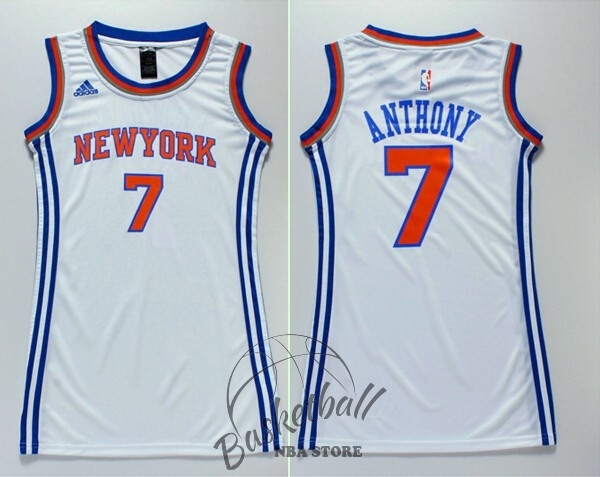Choisir Maillot NBA Femme New York Knicks NO.7 Carmelo Anthony Blanc