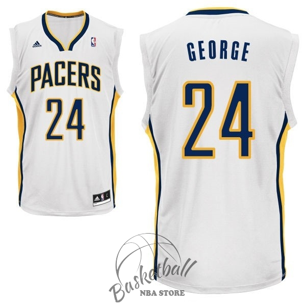 Choisir Maillot NBA Indiana Pacers NO.24 Paul George Blanc