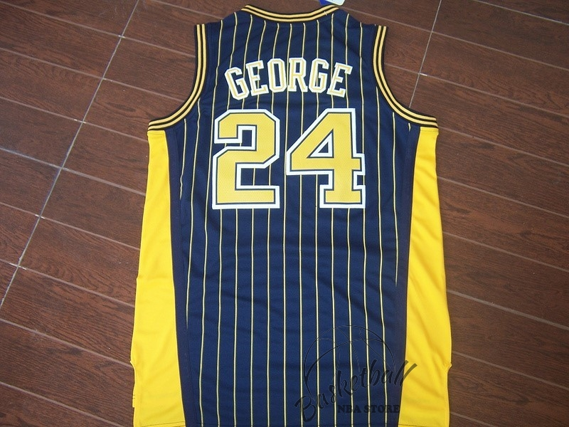Choisir Maillot NBA Indiana Pacers NO.24 Paul George Bleu Bande