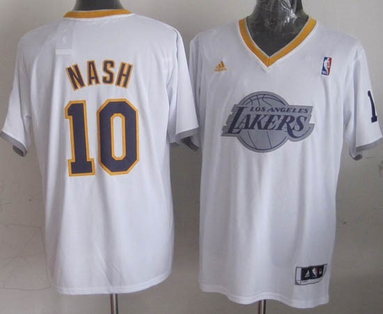Choisir Maillot NBA Los Angeles Lakers 2013 Noël NO.10 Nash Blanc