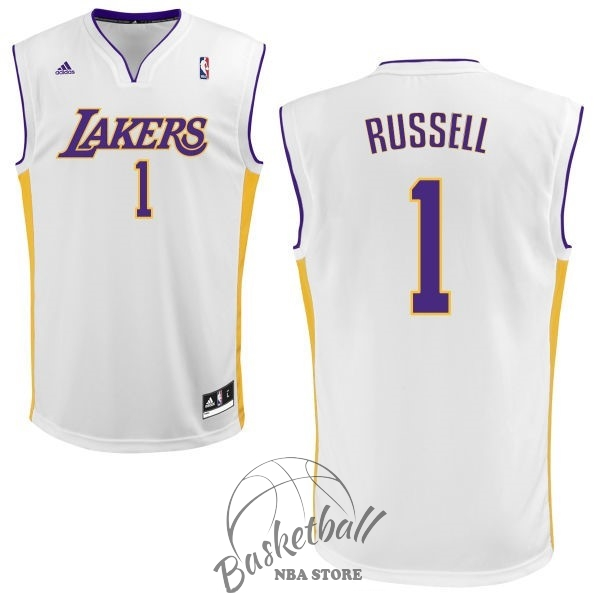 Choisir Maillot NBA Los Angeles Lakers NO.1 D'Angelo Russell Blanc