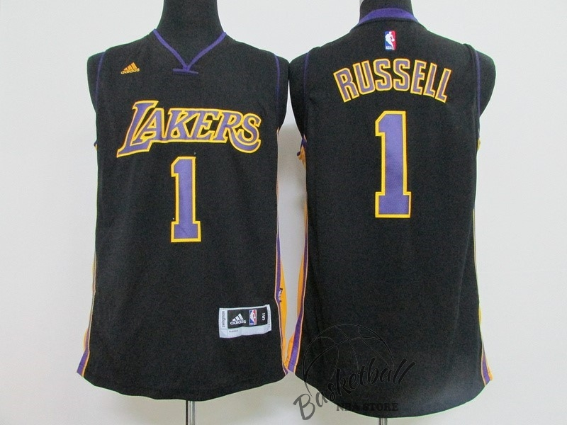 Choisir Maillot NBA Los Angeles Lakers NO.1 D'Angelo Russell Noir