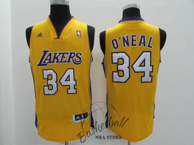 Choisir Maillot NBA Los Angeles Lakers NO.34 Shaquille O'Neal Jaune
