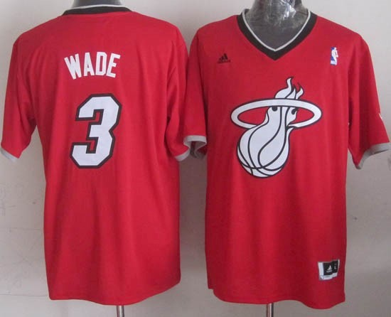 Choisir Maillot NBA Miami Heat 2013 Noël NO.3 Wade Rouge