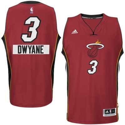 Choisir Maillot NBA Miami Heat 2014 Noël NO.3 Dwyane Rouge