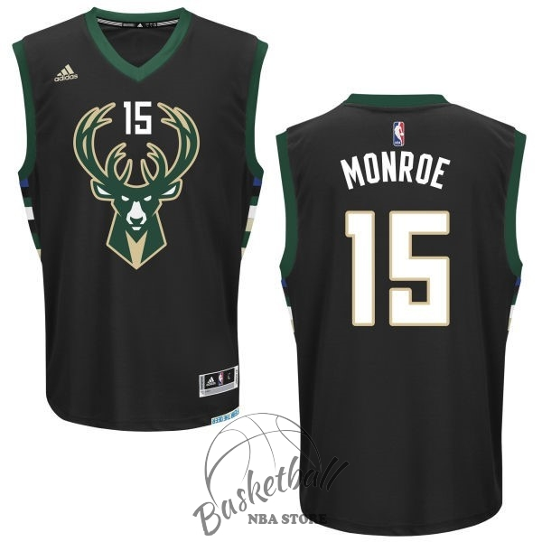 Choisir Maillot NBA Milwaukee Bucks NO.15 Greg Monroe Noir