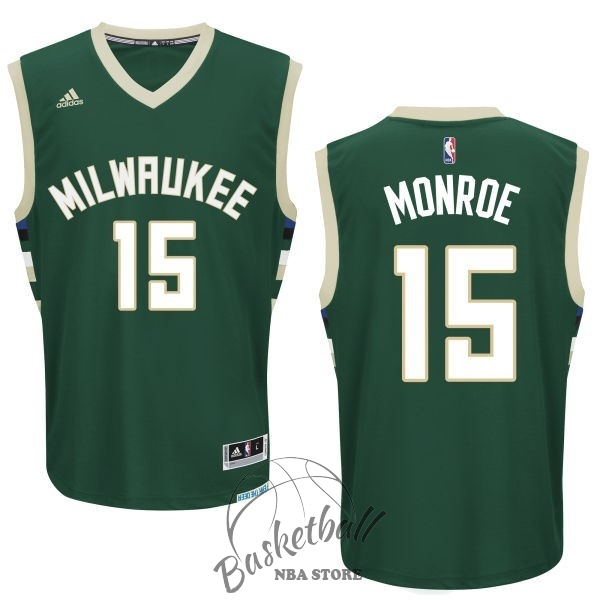 Choisir Maillot NBA Milwaukee Bucks NO.15 Greg Monroe Vert