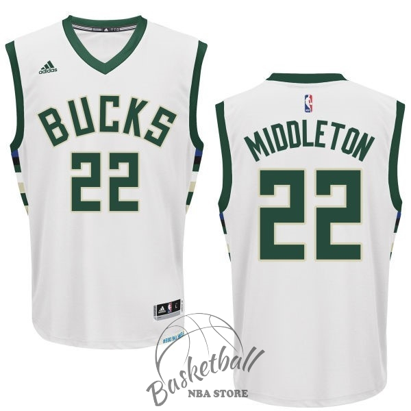 Choisir Maillot NBA Milwaukee Bucks NO.22 Khris Middleton Blanc