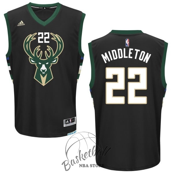 Choisir Maillot NBA Milwaukee Bucks NO.22 Khris Middleton Noir