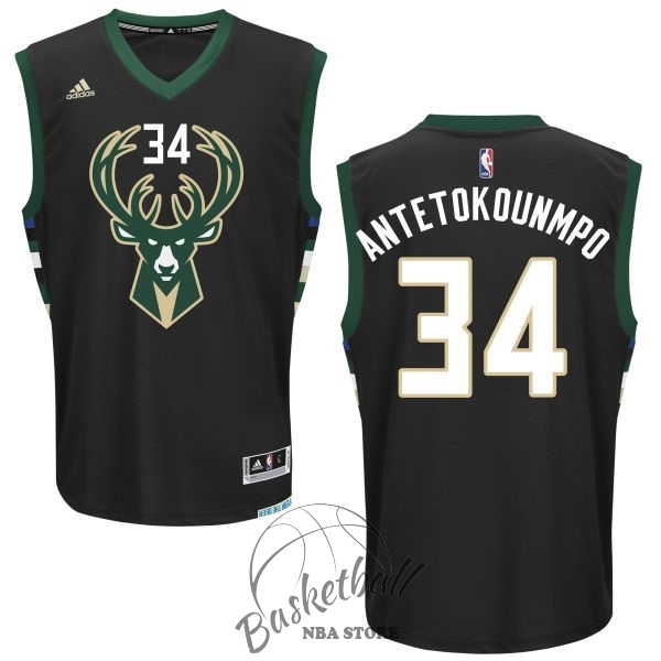 Choisir Maillot NBA Milwaukee Bucks NO.34 Giannis Antetokounmpo Noir