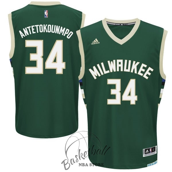 Choisir Maillot NBA Milwaukee Bucks NO.34 Giannis Antetokounmpo Vert