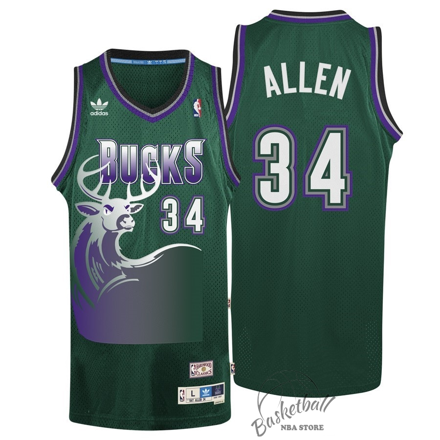 Choisir Maillot NBA Milwaukee Bucks NO.34 Ray Allen Vert